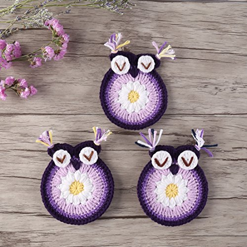 ZORJAR Heat-Resistant Placemats for Kitchen Coasters Doilies Round Handmade Crochet Lace Animals Design Milk Cotton Lace Table Glass Coffee 3.54 Inch Set of 3 (Owl Purple) ()