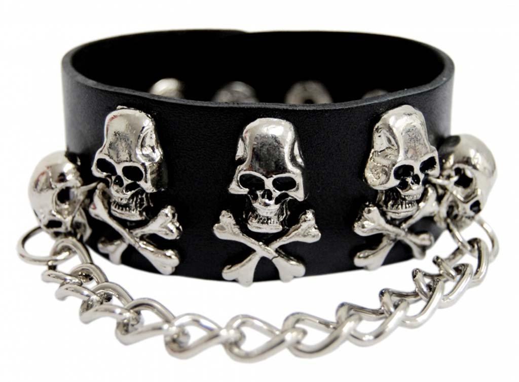 Punk Wristband Skulls with Chain