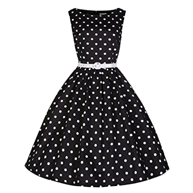 Wenyujh Womens Vintage 1950s Retro Cocktail Dress Polka Dots Casual Party Swing Dress (US 4