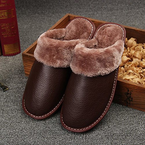 Fankou pantofole inverno scarpe di cotone di rimanere caldo scarpe uomini e donne paio di spessore della camera non-slip ,39-40, marrone