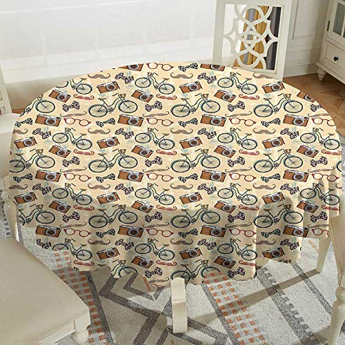 wipeable Round Tablecloth 50 Inch Retro,Hipster Lifestyle in