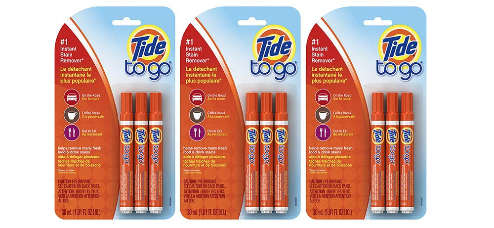 Tide to Go Instant Stain Remover Liquid Pen, 3 Count (3 Packages)