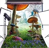 DULUDA 5X7FT Fantasy Fairy Tale Wonderland Mashroom Poly Fabric Photography Backdrop Customized Photo Background Studio Prop GMWD71