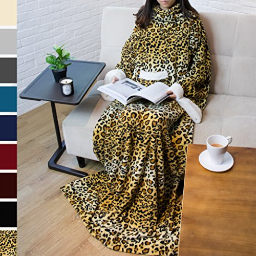 PAVILIA Deluxe Fleece Blanket with Sleeves for Adult, Men, and Women| Elegant, Cozy, Warm, Extra Soft, Plush, Functional, Lightweight Wearable Throw (Cheetah)