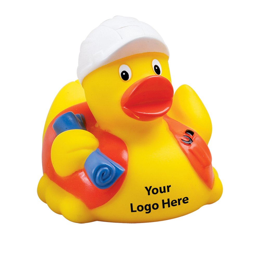 Construction Worker Rubber Duck - 100 Quantity - $3.15 Each - PROMOTIONAL PRODUCT / BULK / BRANDED with YOUR LOGO / CUSTOMIZED