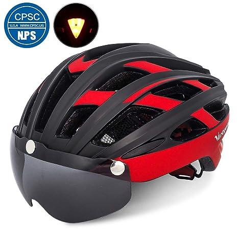 68ceebfb VICTGOAL Bike Helmet for Men Women with Safety Led Back Light Detachable  Magnetic Goggles Visor Mountain