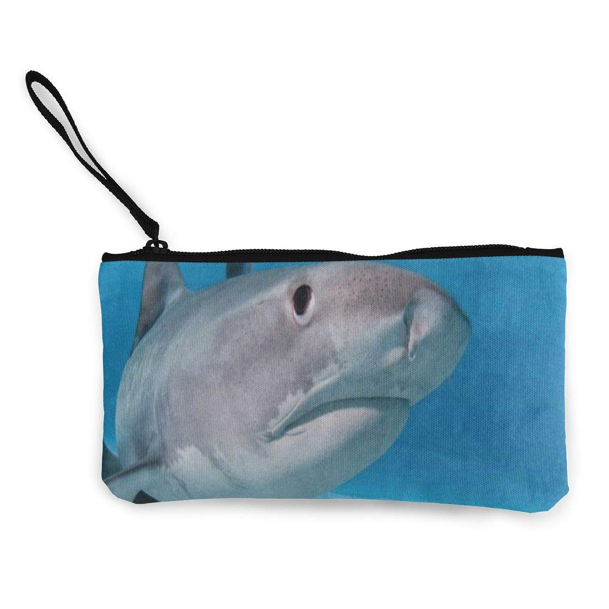 sd4r5y3hg Canvas Coin Purse Shark Swimming Ocean Customs Zipper Pouch Wallet For Cash Bank Car Passport
