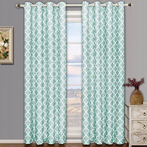 Pair Of Two Top Grommet Meridian Blackout Thermal Insulated Curtain Panels Triple Pass Foam Back Layer Teal Blue Set 52 By 84 104