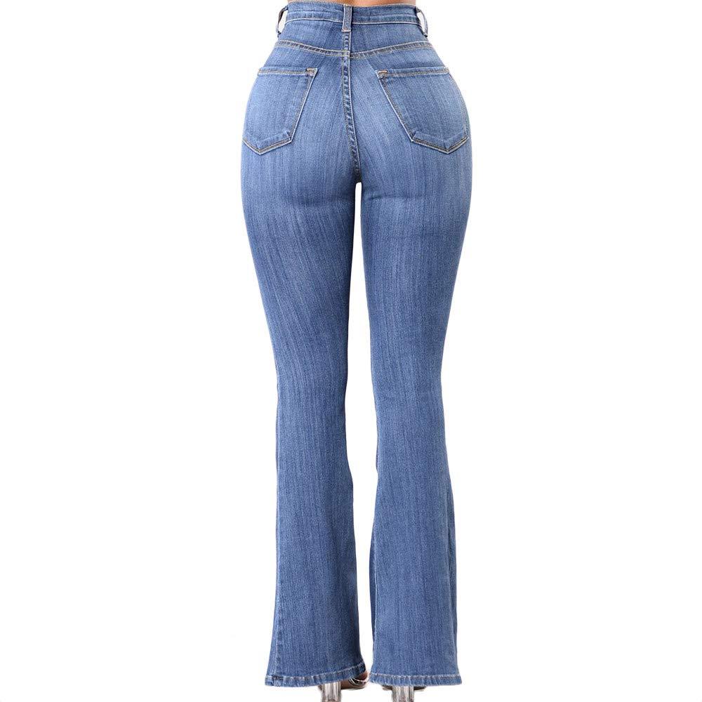 Farjing Pants Clearance Sale Women High Waisted Skinny Denim Jeans Stretch Slim Pants Calf Length Jeans(2XL,Blue by Farjing (Image #3)