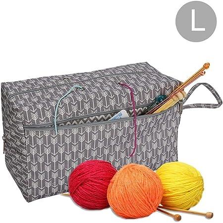 EisEyen costurero Caja nähgarnitur Bolso para Lana, de Punto, Ganchillo Bolsillos, unvollendete Proyectos, Agujas de Ganchillo y Otros Accesorios: Amazon.es: Hogar