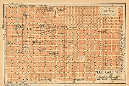 Amazon Com Salt Lake City Antique Town City Plan Utah Baedeker