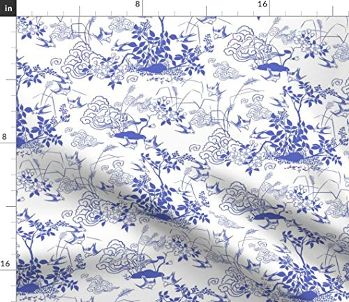 Spoonflower Blue Swallows Toile Fabric - Birds and Berries Bird Cottage Chic Woodland Clouds Chinese White Print on Fabric by The Yard - Velvet for Upholstery Home Decor Bottomweight Apparel