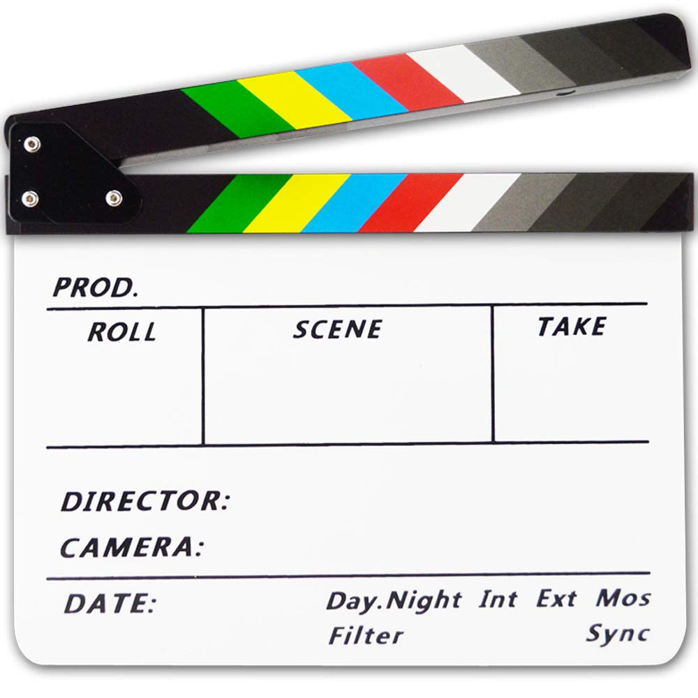 Acrylic Plastic Clapboard Dry Erase Director TV Film Movie Slate Cut Action Scene Clapper Board Slate 12''x10'' / 30cmx25 cm with Color Sticks and 1 Pen (White-Color)