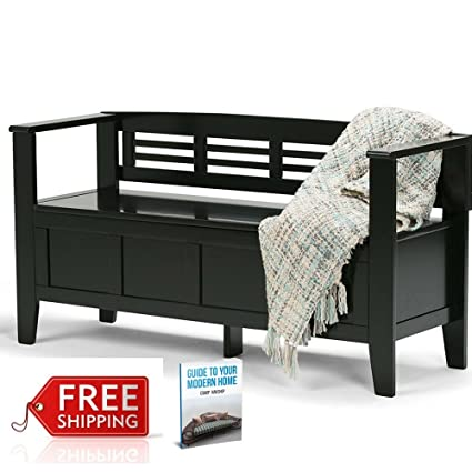 Rustic Wooden Storage Bench Seat For Entryway With Storage Enclosed  Organizer Hallway Bench With Back Modern