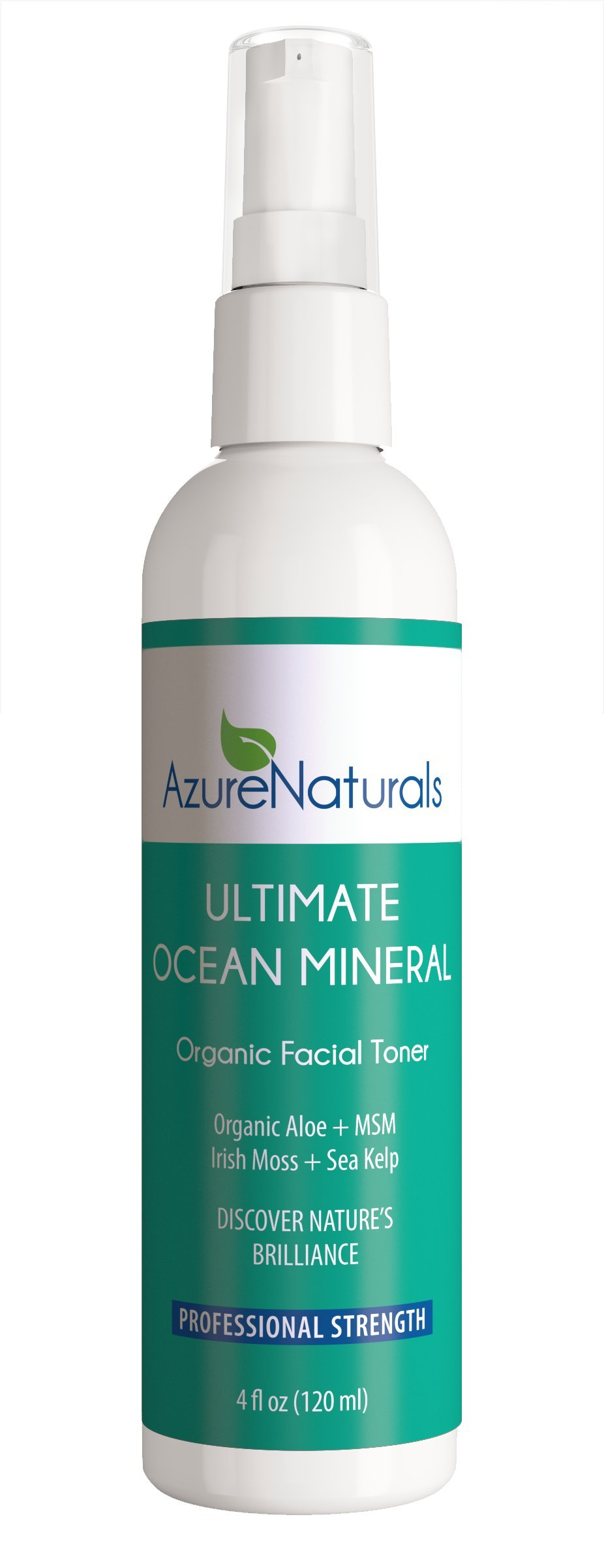 ULTIMATE OCEAN Mineral Organic Facial Toner, 90+ Ocean Minerals, Blue Green Algae + Irish Moss + Kelp Will Brighten & Hydrate Your Skin Giving You a Beautiful, Youthful Looking Glow!