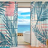 OPRINT Palm Tree Leaf Watercolor sheer Curtain Window Panel Drapes Window Curtain for Living Room Bedroom Two Panels Set Design Review