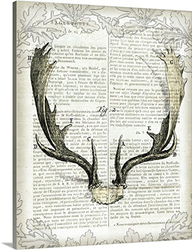 Sue Schlabach Gallery-Wrapped Canvas entitled Regal Antlers on Newsprint II by greatBIGcanvas