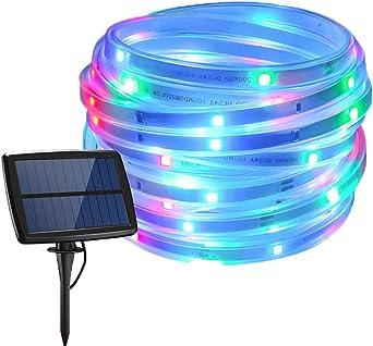 Solar Strip Lights, 5M 150LED Tira de luz Flexible con Modo 4 para del Patio del Jardín Camino Fiesta Navidad (Multicolor)