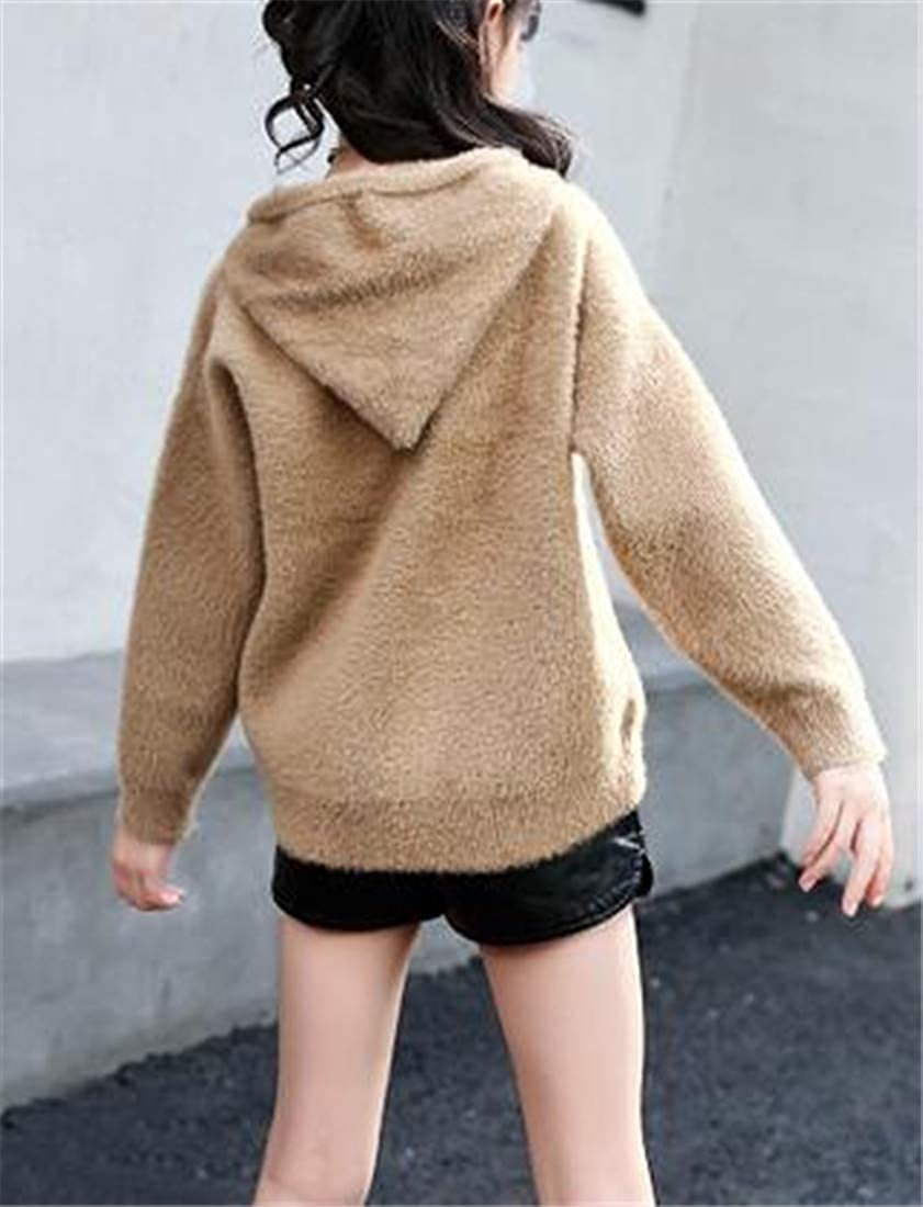 Cromoncent Girl Slim Fit Cute Plush Hoodie Jumper Pullover Sweaters