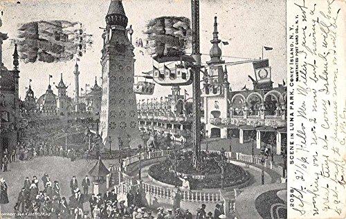 Coney Island New York Luna Park Amusement Scene Antique Postcard K81373