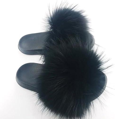 New Flat Women Real Fur Sliders Slippers Indoor Outdoor Comfortable Shoes