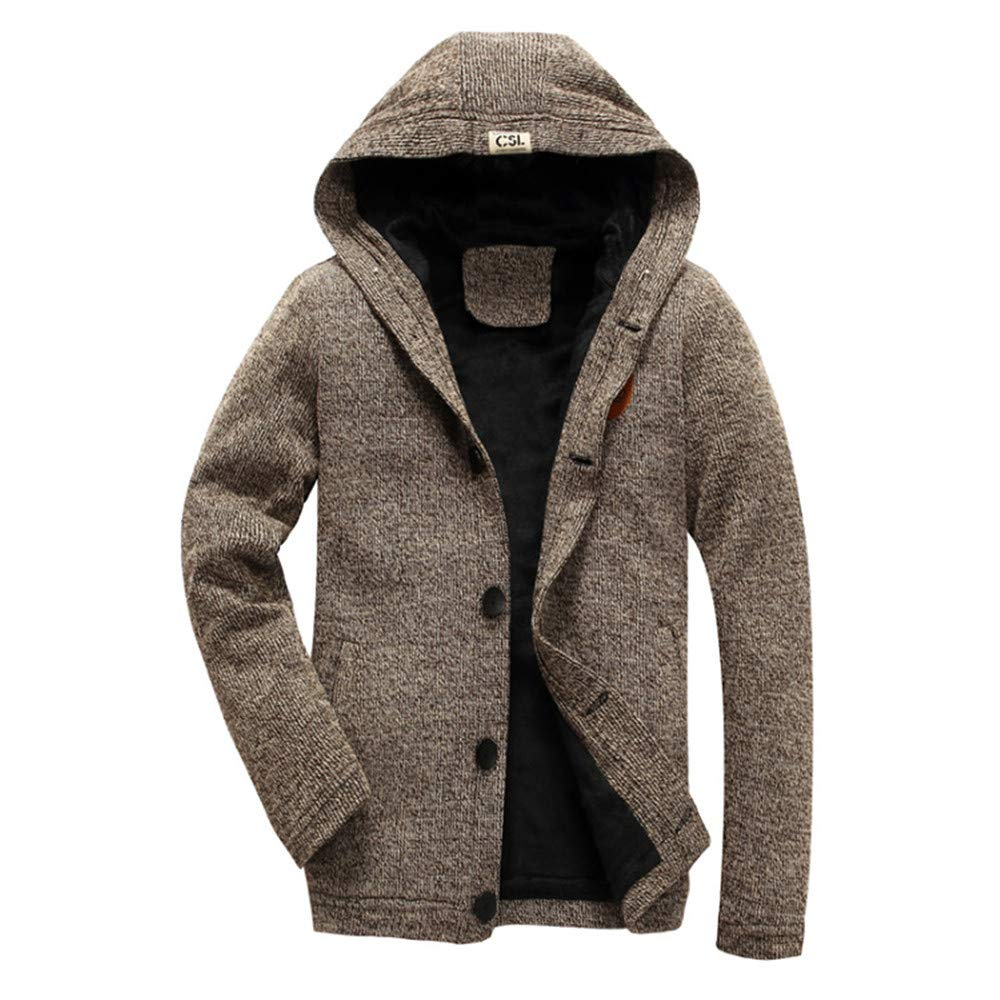 iLXHD Men's Hooded Knit Sweater Button Cardigan Thickened Plush Coats Jacket (Yellow,M)