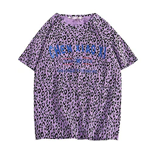 Allywit-Mens Retro Leopard Print Short Sleeve Crew Neck T-Shirt Basic Fashion Tee Casual Blouse Purple ()