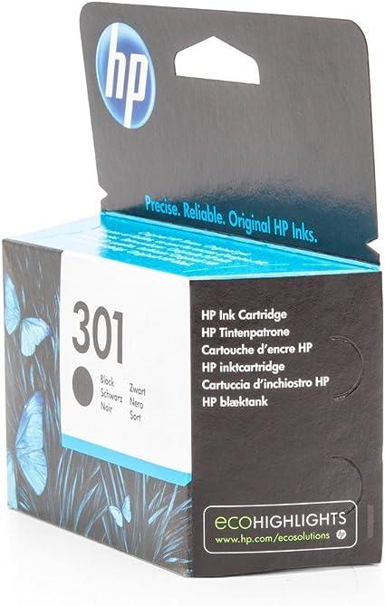 HP 301 - Cartucho de Tinta para impresoras (Negro, 190 páginas, Negro, 20-80%, -40-60 °C, 15-32 °C): Amazon.es: Oficina y papelería