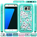 Galaxy S7 Edge Case, HLCT Rugged Shock Proof Dual-Layer Case for Samsung Galaxy S7 Edge (2016) (Green Green)