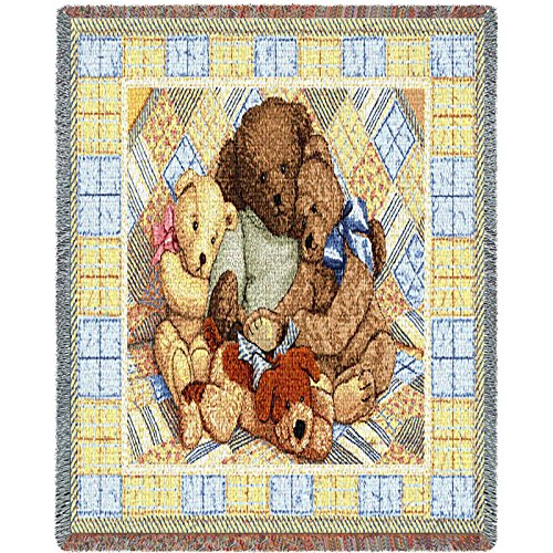 Pure Country Bear Hugs Mini Blanket Tapestry Throw - Woven Teddy Bear Blanket Throw