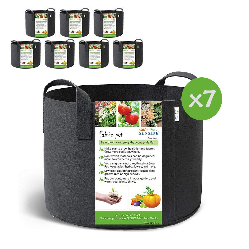 SUNSIDE 5 Gallon Grow Bags Nonwoven Plant Fabric Pots with Handles (Black) (7-Pack 5 Gallon)