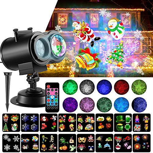 LED Christmas Projector Lights, 2-in-1 Ocean Wave Projector Light with 16 Slides Patterns 10 Colors Waterproof Outdoor Indoor Holiday for Halloween Xmas Home Birthday Party Landscape Decorations