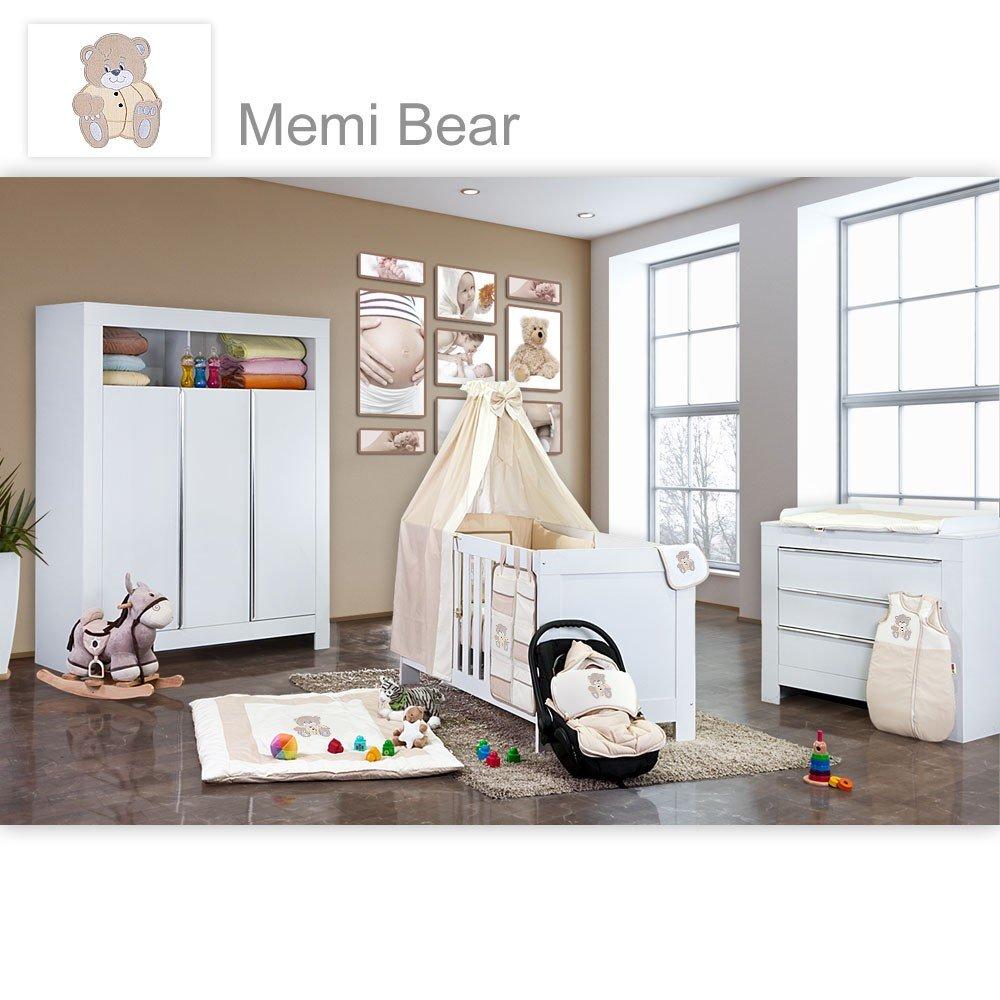 Babyzimmer Felix in weiss 21 tlg. mit 3 türigem Kl + Memi Bear in Beige