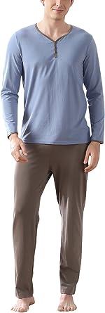 Dolamen Pijamas para Hombre Algodón, Hombre Pantalones de Pijama Largos Primavera Suave y Suave, Hombre Camisones Pijamas Cuello en V con Botones
