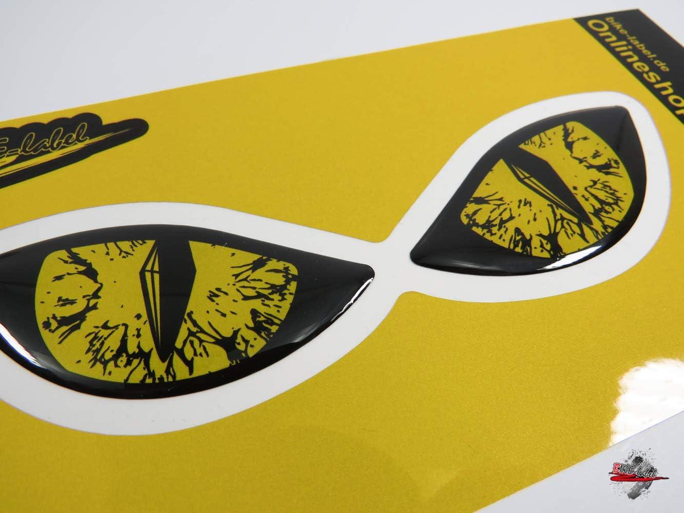 Bike Label 910066va Reflektor Aufkleber 3d Böse Augen Auto Motorrad Helm Gelb Auto