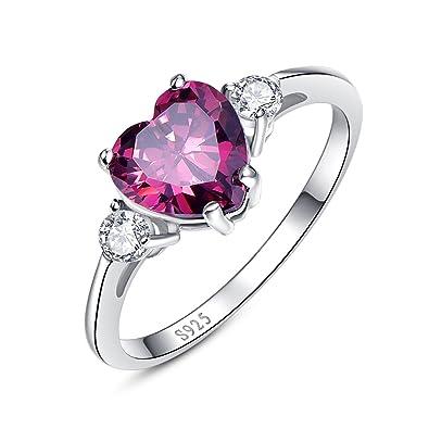 Bonlavie Women's 8* 8mm 3.2ct Heart Cut Mystic Created Rainbow Topaz Cubic Zirconia 925 Sterling Silver Engagement Ring gAwpB
