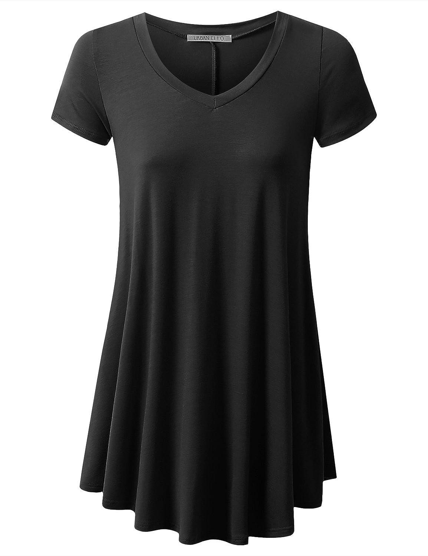 e7be5a4bc24 95% RAYON / 5% SPANDEX Hand Wash Cold Basic Short Sleeves Long Tunic Top  Mini T-shirt Dress Long Tunic Length Drapes Along the Front & Back