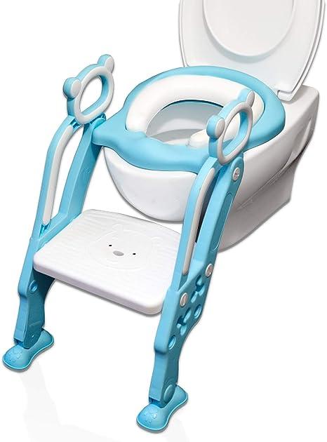Reductor WC para Niños Acolchado Suave con Escalón Plegable Abatible Ajustable | Adaptador de Váter Infantil Estable, Antideslizante, Sin Esquinas | Inodoro para Niños Azul |2019 Diseño exclusivo: Amazon.es: Bebé