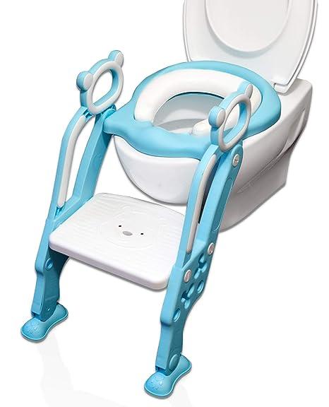 Reductor WC para Niños Acolchado Suave con Escalón Plegable Abatible Ajustable | Adaptador de Váter Infantil