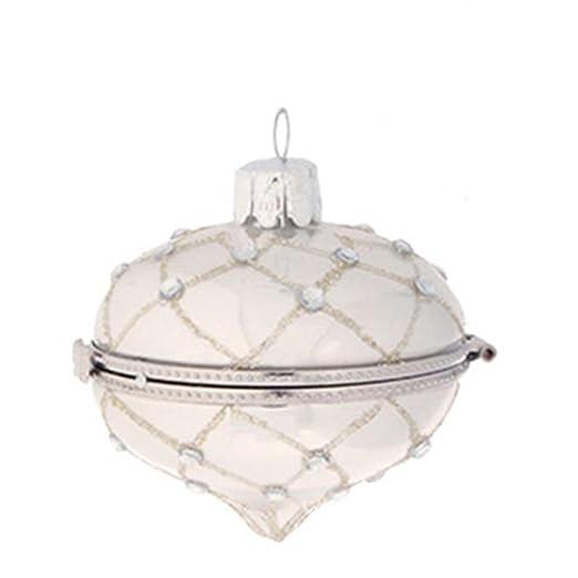 Christmas Tablescape Decor - Pastel Dreams Victorian Antique Silver Glass Kismet Keepsake Box Onion Christmas Ornament