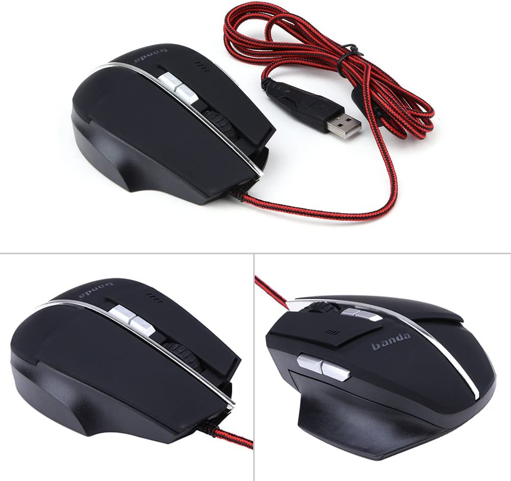 WinnerEco LED Optical Wired Gaming Mice 4000DPI USB Mouse For Pro Gamer