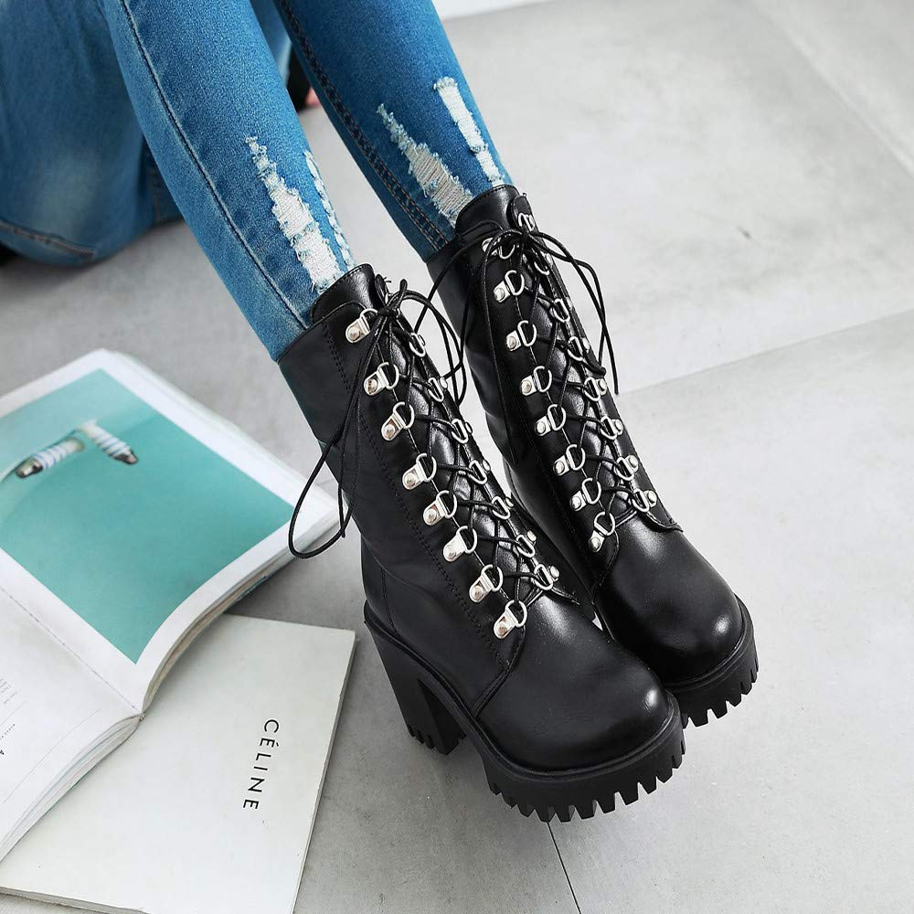 Limsea Winter Womens Thick Heel Boot Leisure Vintage Leather Lace-UP Round Toe Waterproof