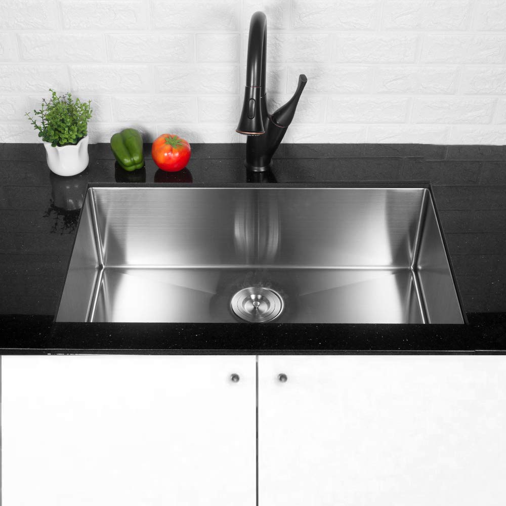 LORDEAR Commercial 32 Inch 16 Gauge 10 Inch Deep Brushed Nickel Drop In Single Undermount Single Bowl Stainless Steel Kitchen Sink,304 Stainless Steel Bar Sink Include Dish Grid and Strainer and Apron