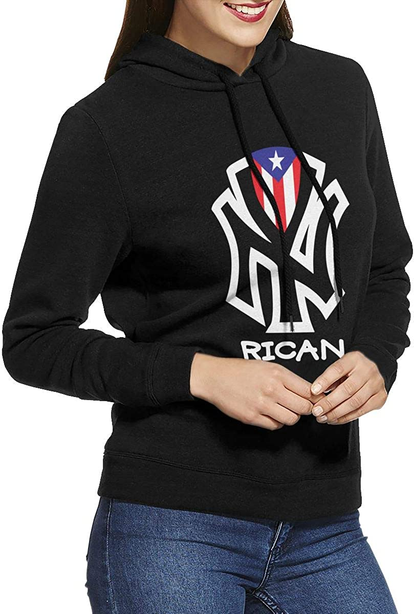 New York Puerto Rico Flag Pullover Hoodie Ladies Long Sleeve Tops Hooded Sweatshirts