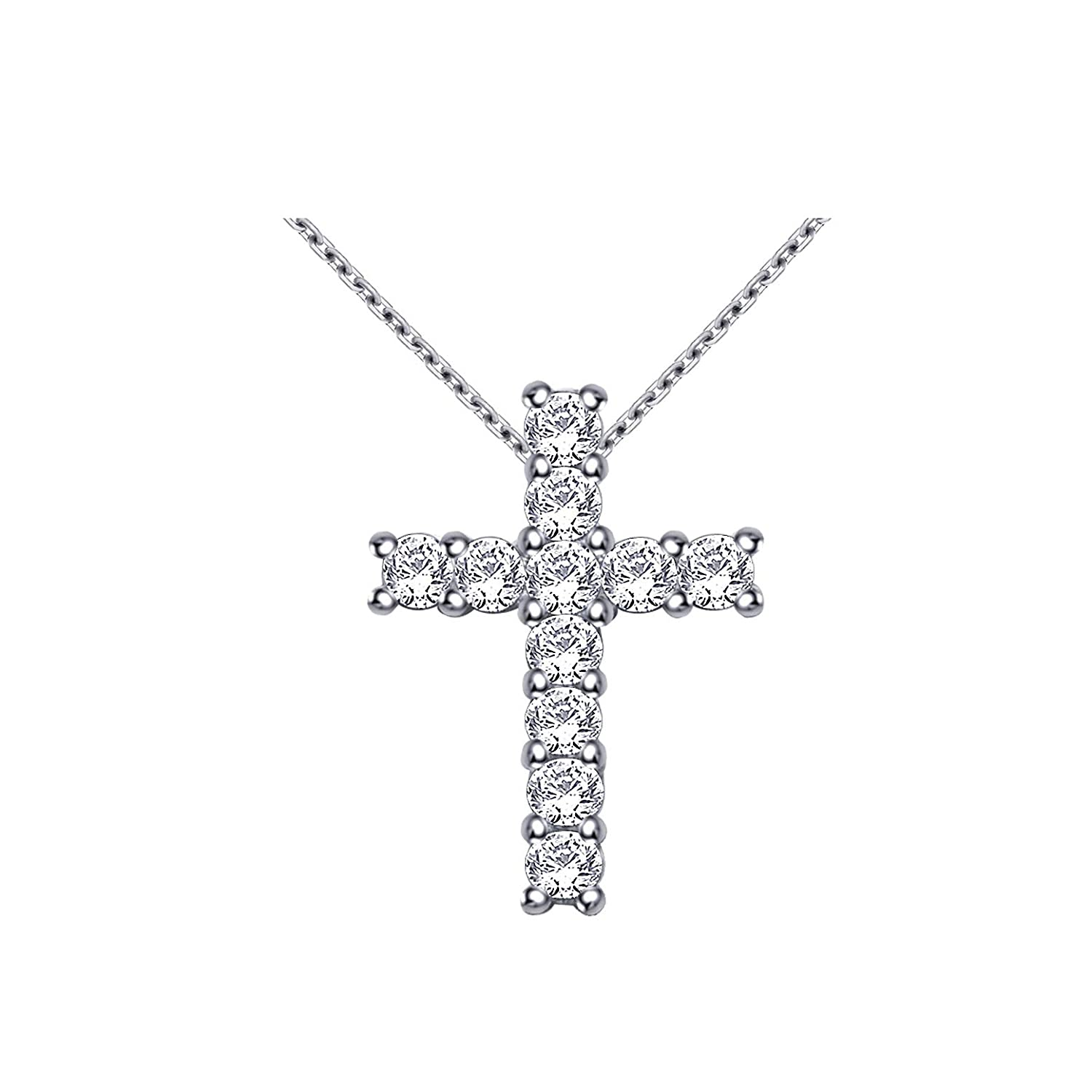 Ringjewels 0.95 Carat Classic Simulated Diamond Cross Pendant with 18 Chain in 14K White Gold Plated