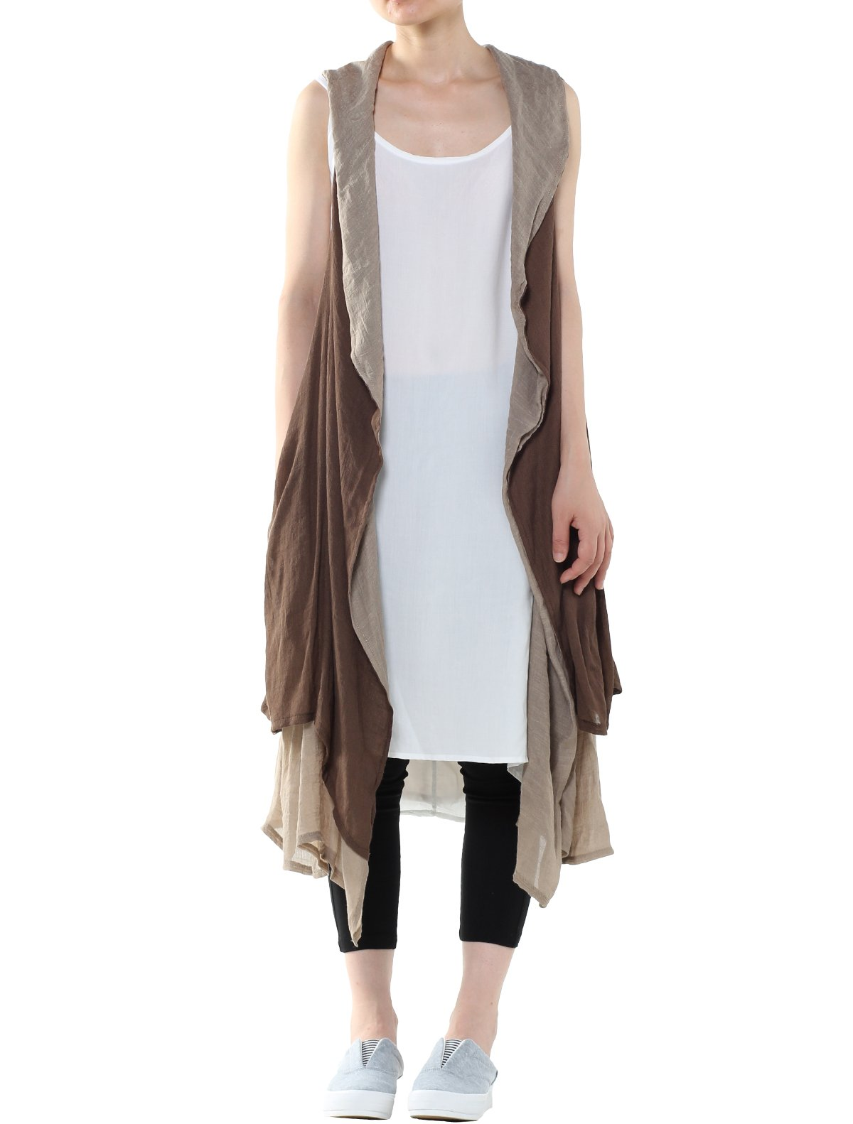 Mordenmiss Women's Casual Loose Waistcoat Travel Clothing (Style 2-Brown)