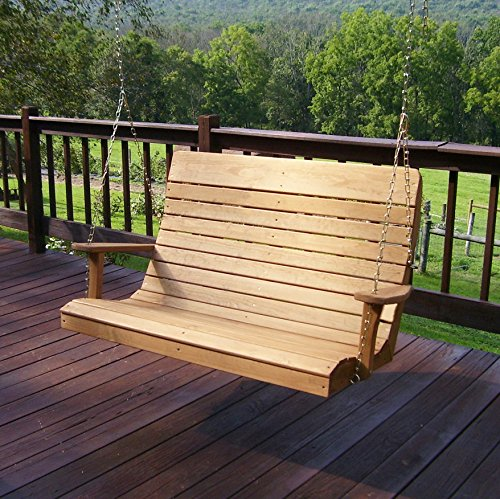 (Amish Porch Swing, 4 ft Outdoor Hanging Porch Swings, Traditional Patio Wooden 2 Person Seat Swinging Bench, Pressure Treated Wood in Unfinished & Oak or Rustic Gray Stain (Oak)