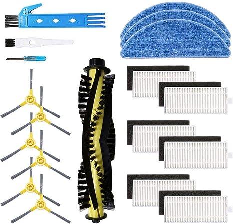 Confezione Famiglia di 4 filtri Materiale Premium 4 spazzole Laterali 2 mop BSDY YQWRFEWYT Kit Accessori di Ricambio per aspirapolvere Robot IKOHS netbot S12
