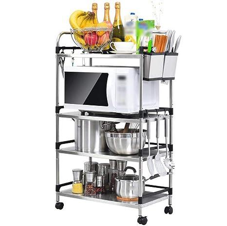 HUYYA Estar estantería metálica Cocina, Carrito Cocina con Ruedas Utilidad 4 Niveles microondas Estantes baldas