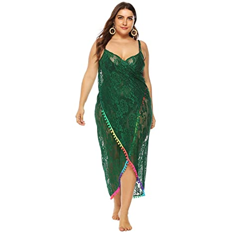 bf41838684 GERINLY Plus Size Sarong Dress Women Spaghetti Strap Kaftan Cover Up Sexy  Lace Backless Wrap (Green) at Amazon Women's Clothing store: